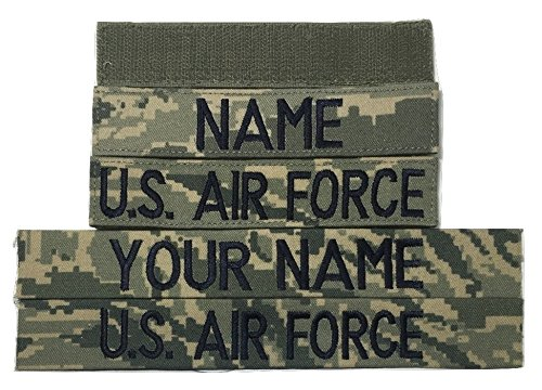 - 2 piece ABU Air Force Custom Name Tape & Branch Tape set, with Fastener or Sew-On - Military (With Fastener)