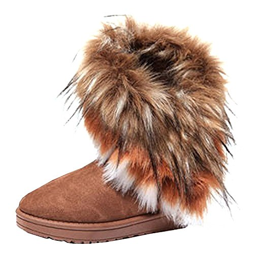 [ARTCO Women's winter warm high long snow ankle boots faux fox fur tassel shoes three colors Brown US9] (Brown Fur Boots)