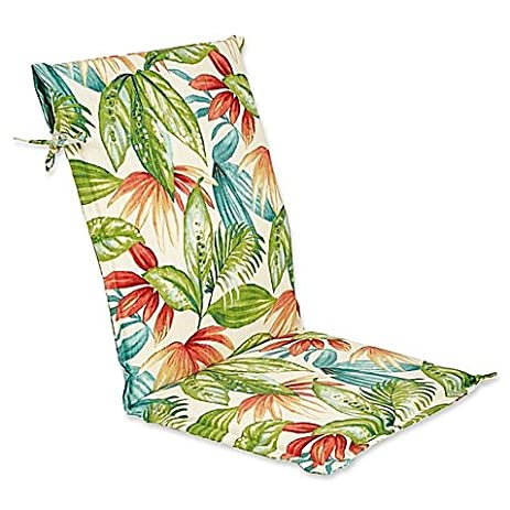 Outdoor Sette Sling Back Chair Cushion In Shady Palms, Bold Island Style  With Palm Tree