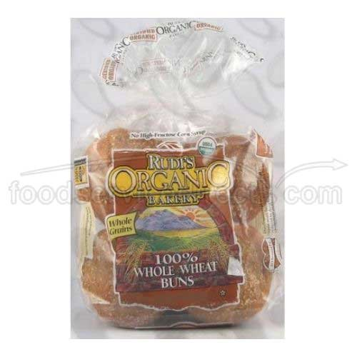 Rudis Organic 100 Percent Whole Wheat Hamburger Bun -- 7 pack per (Whole Wheat Buns)