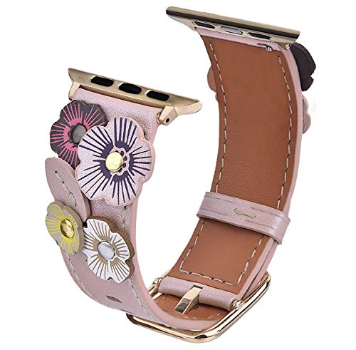 V-MORO Flowers Leather Bands Compatible with Apple Watch Bands 42mm 44mm Series 4/3/2/1 with Stainless Steel Buckle Rose Gold Replacement Strap Wristbands Women(Rose Gold, 42mm)
