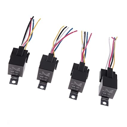 SLB Works 4 Sets 12V SPST 5 Pin Car Relays with 5 Wires ... on
