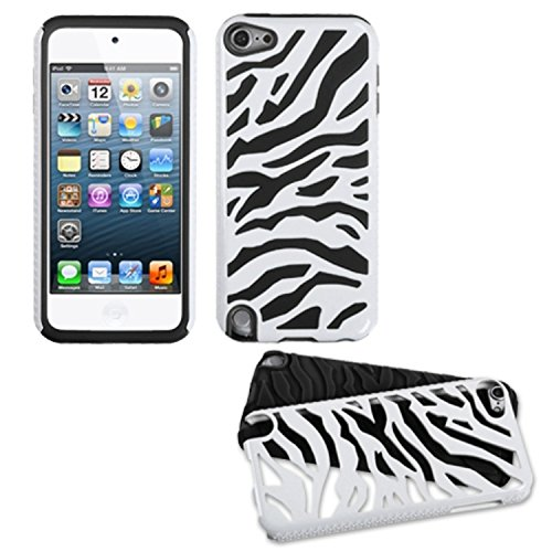 Asmyna Natural Ivory White Zebra Skin/Black Fusion Protector Cover for iPod touch 5 - Laser Silicone Skin Zebra