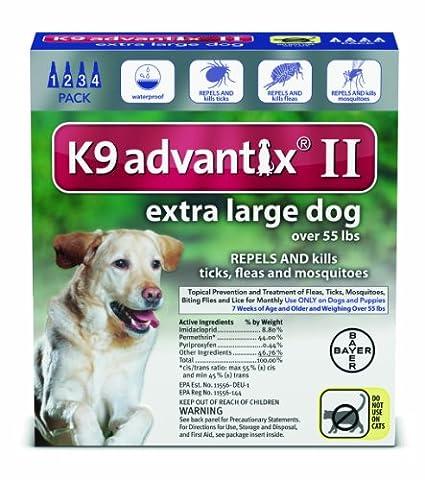 Bayer K9 Advantix II Flea, Tick and Mosquito Prevention for X-Large Dogs, Over 55 lb, 4 doses - Advantix Flea Treatment