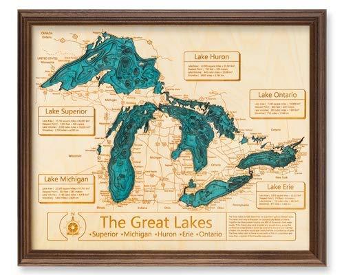 Long Lake Lifestyle Cedar Creek Reservoir - Franklin County - AL - 3D Map 24 x 30 in (Dark Oak Frame) - Laser Carved Wood Nautical Chart and Topographic Depth ()