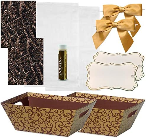Pursito Gift Basket Making Kit 7 x 5 x 3 Includes: Chocolate Basket Crinkle Cellophane Bag Gold Bows & Gift Tags - 2 Sets Wedding Christmas & Birthday Gifts