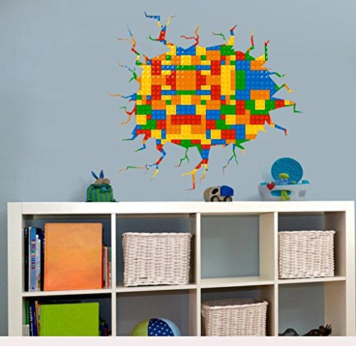 Colorful Kids JGD Wall Fabric Decal With Crack In The Wall, Reusable, Peel  U0026 Stick (22.5 Part 83