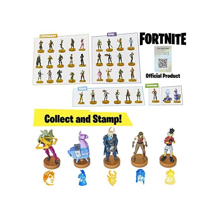 51G4zLj2lOL ⚔️ PACK 5 FIGURAS FORTNITE: Cada paquete contiene 5 figuras del famoso videojuego. Todas las figuras han sido diseñadas cuidando cada detalle para obtener un resultado muy realista, incluidas sus armas del juego. Cada figura mide aproximadamente 7.5 cm. ⚔️ 36 ESTAMPADORES PARA COLECCIONAR: Hay 36 mini figuras para coleccionar en selecciones aleatorias de 5. Hemos incluido personajes legendarios y épicos como Fortnite Llama, Battle Bus, Panda, Skull Trooper, Bunny Brawler, Merry Marauder, Pumpkin Head, Love Ranger, Rex, Black Knight, Red Nosed Raider, Cuddle Team Leader, The Rabbit Raider, The Ginger Gunner, The Brite Bomber With Her Unicorn, Rapscallion, Diving Swim Girl, Burnout, Codename ELF, Nog Ops, Crackshot y muchos otros. ⚔️ PRODUCTO OFICIAL DE FORTNITE: Accesorios y productos de Fornite de la tienda oficial de Epic Games. Visite nuestra tienda online para encontrar sudaderas, mochilas y ropa a juego.
