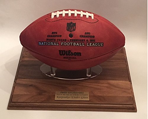 Football Display Stand - Solid Oak with Mahogany Finish and Custom Pylon Holder - Personalized Engraved. (Oak Base Football Display Case)