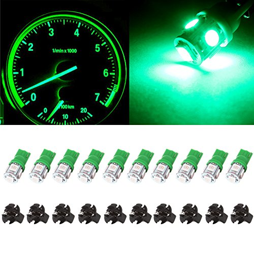 cciyu cciyu T10 5050 194 light Bulb SMD Tri-Cell Green SMD LED Chips Dashboard Dash Gauge Instrument Panel Light w/Socket (Instrument Cavalier)