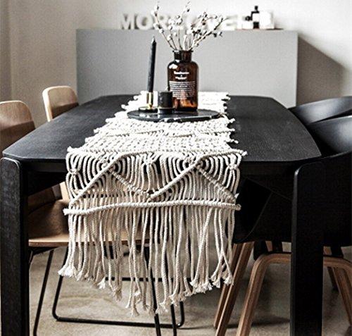 Hand Woven Table Runner - LeeVan Handmade Macrame Table Runner Gorgeous Handwoven Wedding Table Decoration Wedding Table Runner with Long Tassels Bedroom Art Decor (15.7