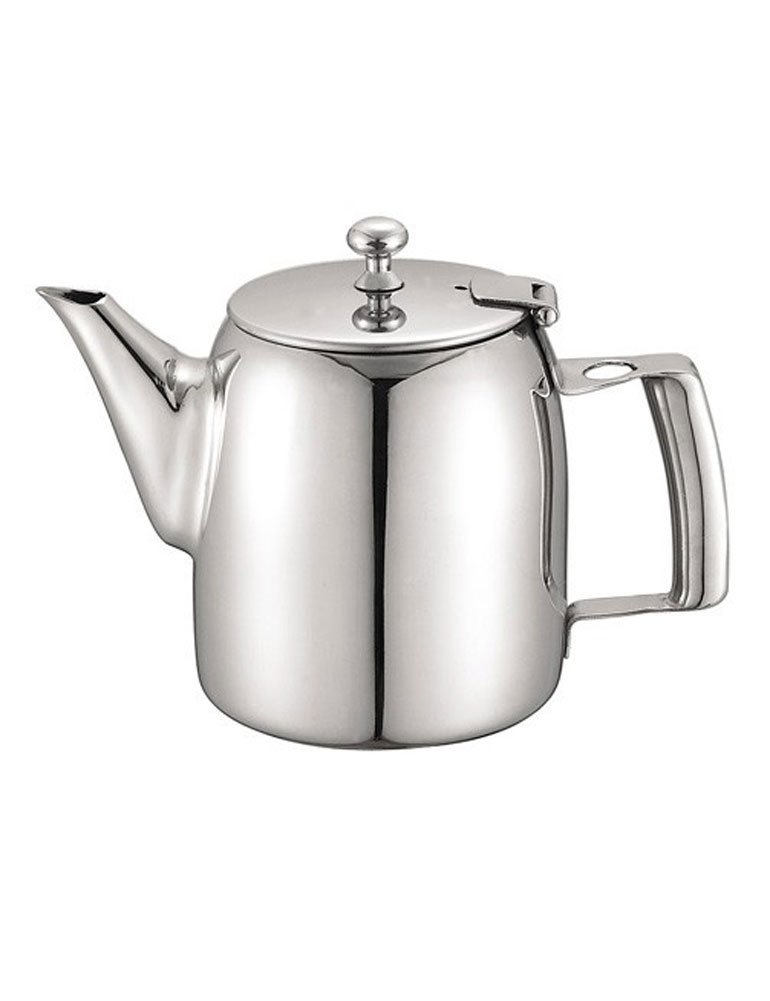iecool European Style Stainless Steel Loose Tea Teapot for Hotel Restaurant Silver 33oz