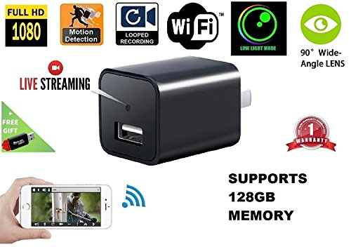 1080P Wifi Charger Hidden Spy Camera – DENT Products HD P2P Wireless Wifi Video Camcorder with Motion Detection, Pet Nanny Cam, USB AC Wall Plug Adapter for phone, Remote View, support 128GB SD (Pcie Dvr Card)