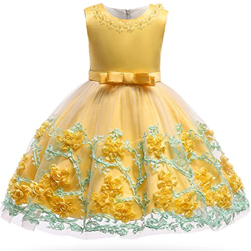 Sun Dresses for Girls Size 5 Sparkly Xmas Santa Easter Pageant Party Dress 5 Years Old Yellow O Neck Sundress for Girls Wedding Holiday Summer Dressy Pretty Dress Floral Prom -