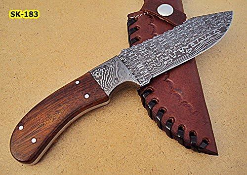 SK-183, Custom Handmade Damascus Steel Skinner Knife Rose Wood Handle