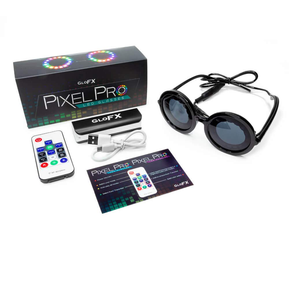 GloFX Pixel Pro LED Glasses [350+ Epic Modes] - Programmable Rechargeable Light Up EDM Festival Rave Party Sunglasses by GloFX (Image #9)