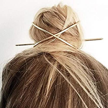 Amazon.com : Hair Stick Pin - New Hair Accessories Arrival Metal Gold Filled X Shaped Bun Holder Charming Vintage Bun Cage - A378 : Beauty