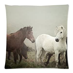 Hot New Arrival Horses in Fog Icelandic Knight Equine Rustic Brown Horse Dalla's Glance Pillow Cases - 18 x 18
