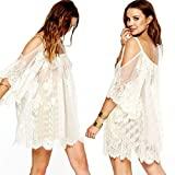 Women Floral Lace Crochet Straps Embroidered Off Shoulder Sheer Vintage Mini Dress (2XL, White)