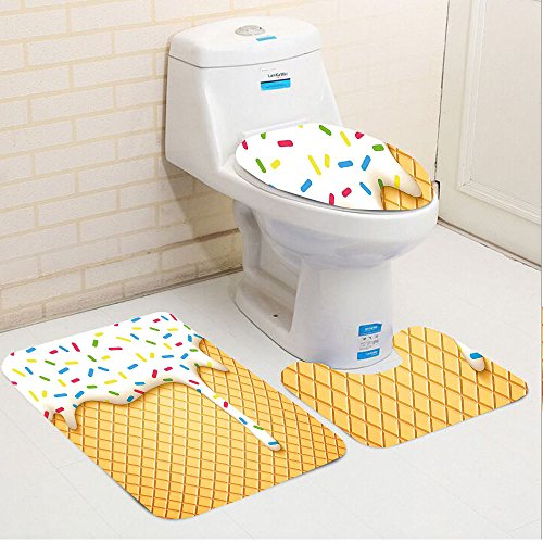 Cheap Keshia Dwete three-piece toilet seat pad customFood Cartoon like Image of and Melting Ice Cream Cones Colored Sprinkles Art Print Multicolor