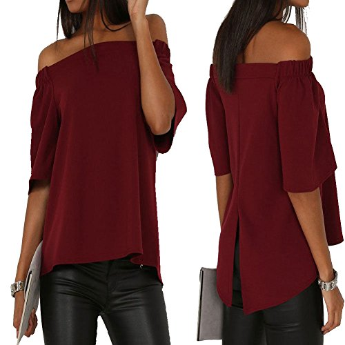Secy Halloween Outfits (Longwu Women's Off shoulder 3/4 Sleeve Loose Long Tops Blouse Shirt Wine Red-L)