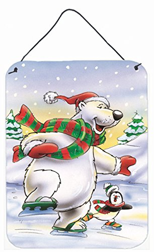 Caroline's Treasures AAH7270DS1216 Holiday Polar Bears Ice Skating Wall or Door Hanging Prints AAH7270DS1216,Multicolor,16HX12W (Ice Skating Polar Bear)