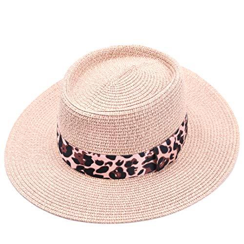 accsa Women Straw Sun Panama Fedora Hat Summer Beach Cap with Leopard Ribbon Band Pink