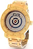 Mens King Master Genuine Diamond Watch 18K Gold Tone Case Metal Band w/ 2 Interchangeable Watch Bands #KM-561