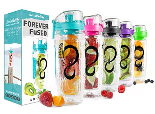 Live Infinitely 32 oz. Infuser Water Bottles - Featuring a Full Length Infusion Rod, Flip Top Lid, Dual Hand Grips & Recipe Ebook Gift (Bright Teal, 32 oz) ()