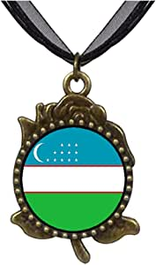 Chicforest Bronze Retro Style Uzbekistan flag Rose Flower Pendant