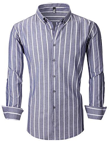 XTAPAN Men's Long Sleeve Casual Slim Fit Vertical Striped Button Down Dress Shirt Asian 4XL Gray 903