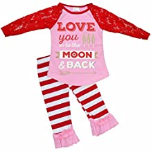 Unique Baby Girls 2 Piece Lace Sleeved Valentine's Day Outfit