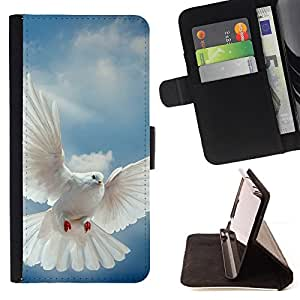 DEVIL CASE - FOR HTC One M7 - Bird Dove Wings Flying Sky God Hope - Style PU Leather Case Wallet Flip Stand Flap Closure Cover