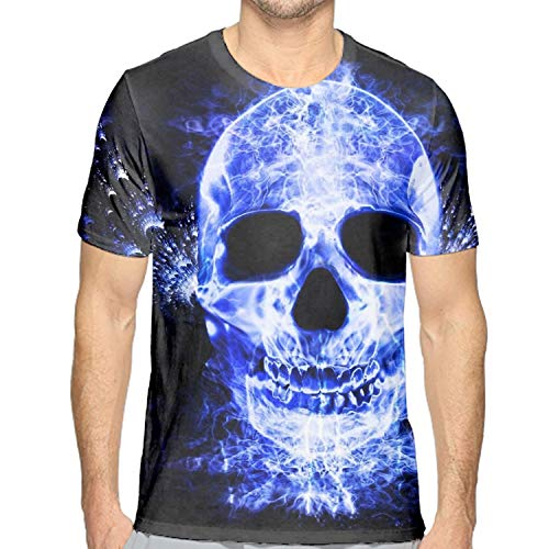 Fashion Blue Flame Skull T-Shirts for Men - Summer Teen Girls T-Shirt