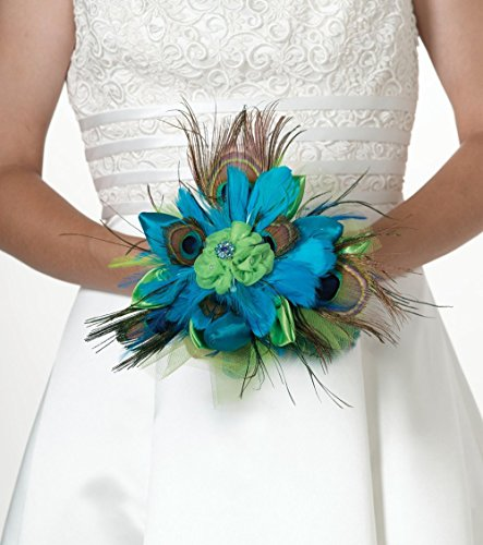 (Ship From USA) Lillian Rose Peacock Feather Bouquet, 9-Inch / Peacock feathers bring in the colors and textures of nature,4' long clear acrylic handle allows for easy carrying,Measures 9',Fashionabl