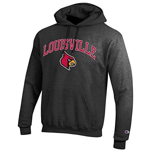 Elite Fan Shop Louisville Cardinals Hooded Sweatshirt Varsity Charcoal - L