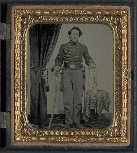 Civil War Bugle Union - Photo: Unidentified Cavalry Soldier, Union Uniform, Bugle, Sword, American Civil War, c1861 . Size: