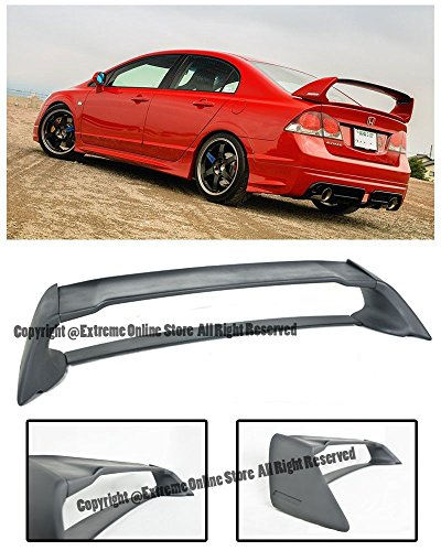 - Extreme Online Store For 06-11 Honda Civic 4Dr Sedan Mugen RR Style ABS Plastic Rear Trunk Lid Spoiler Wing Lip JDM FD2 FA2 2006 2007 2008 2009 2010 2011 06 07 08 09 10 11