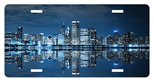 Lunarable Landscape License Plate, Chicago Night Sky with Skyscrapers Financial District Tourist Attraction, High Gloss Aluminum Novelty Plate, 5.88