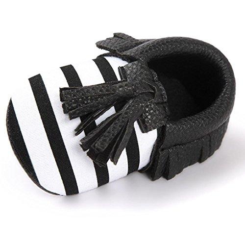 Baby Mädchen Lauflernschuhe-Omiky® Mädchen Lauflernschuhe Krabbelschuhe Babyschuhe in verschiedenen Farben Quasten Bowknot Shoes Schwarz