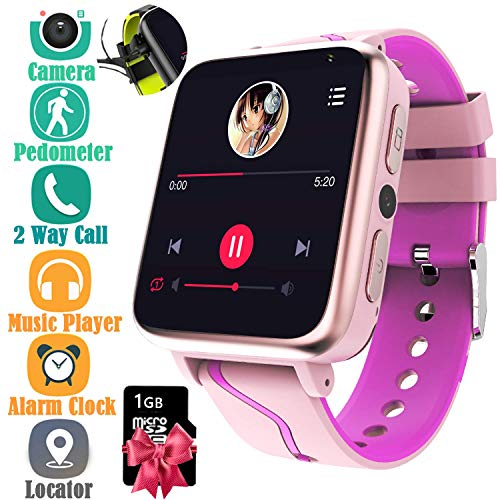 Kids Music Smart Watch for Boys and Girls - Smart Watch with Mp3 FM Player Watch [with 1GB Micro SD Card] and Camera Flashlight SIM Slot Phone Call Voice Chat ()
