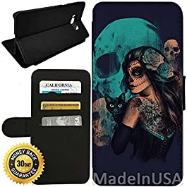 Flip Wallet Case for Galaxy S8 (Day of The Dead Women Black Cat and Skull) with Adjustable Stand and 3 Card Holders…