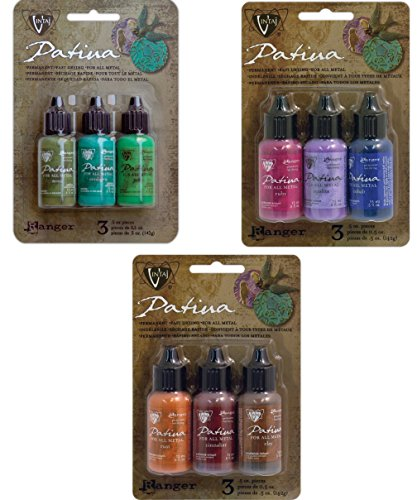 Ranger Vintaj Patina Collection - Weathered Copper Kit, Rusted Hardware and Antique Window - 9 bottles total!