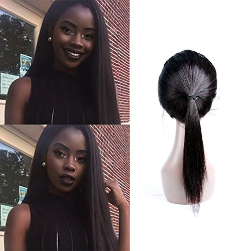 Straight 360 Lace Frontal Brazilian Virgin Human Hair 360 Closure With Baby Hair Pre Plucked Bleached Knots Natural Hairline Unprocessed Human Hair Extensions Natural Black On Deals(14inch)