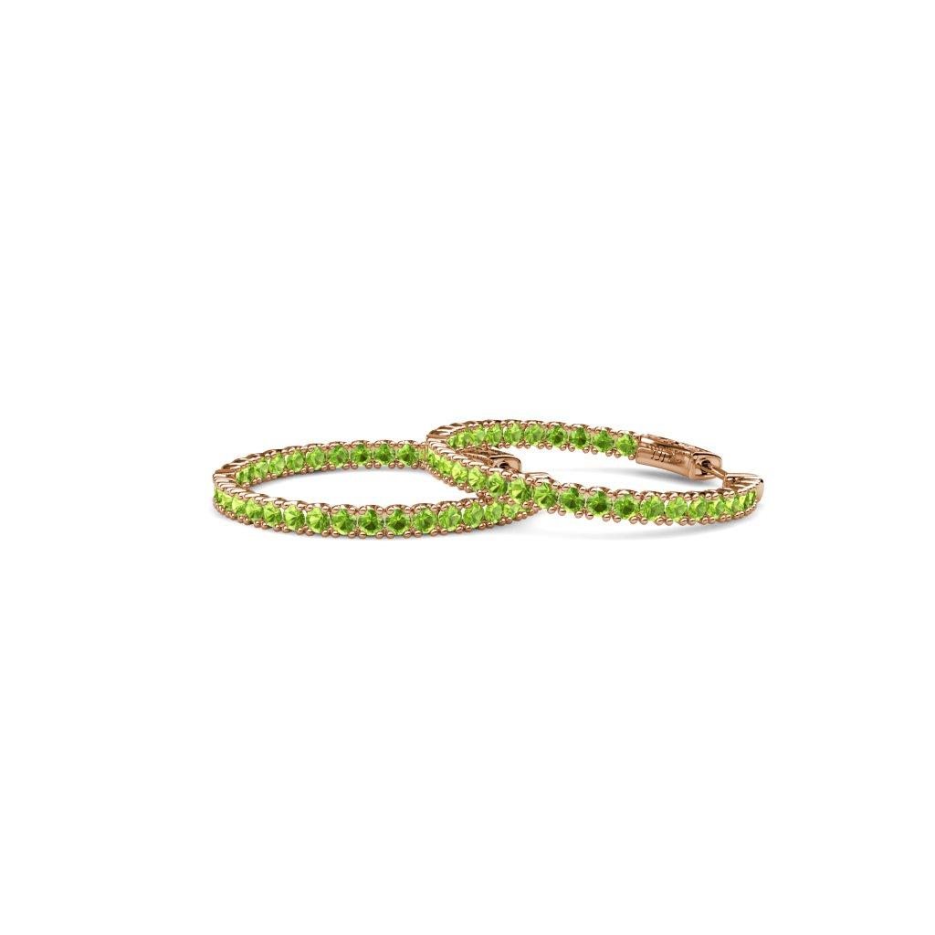 TriJewels Peridot 2mm Inside-Out Hoop Earrings 2.21 Carat tw in 14K Rose Gold