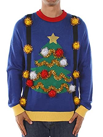 Men's Tacky Christmas Sweater - Christmas Tree Sweater with Suspenders Size S