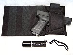 BH2 DTOM Bedside Holster-Ambidextrous plus DTOM Ultra-Bright LED High Lumen Tactical Flashlight for the Bed Side