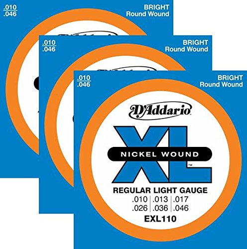 3 Sets - D'Addario EXL110 Nickel Wound Electric Guitar Strings, Light Gauge