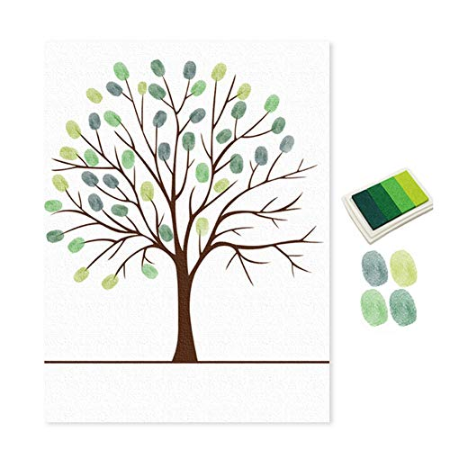 Aland-Wedding Birthday Party Sign in Signature Canvas Guest Book Fingerprint Painting - Green