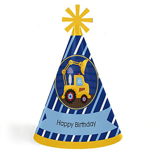 Big Dot of Happiness Construction Truck - Cone Happy Birthday Party Hats for Kids and Adults - Set of 8 (Standard Size) ()